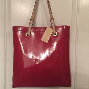 🌹MICHAEL KORS NEW TOTE RED PATENT LEATHER JET SET